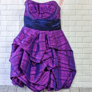 Flirt by Maggie Sottero|Purple Plaid Ruched Dress